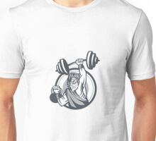Berserker Lifting Barbell Kettlebell Circle Retro Unisex T-Shirt
