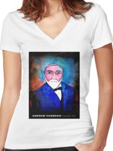Andrew Carnegie by THE SPILT INK Women's Fitted V-Neck T-Shirt