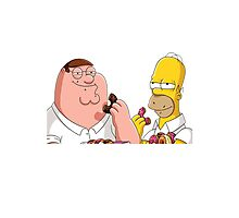 Homer Simpson And Peter Griffin Photographic Print