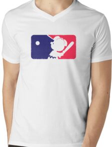 Peanuts League Baseball Mens V-Neck T-Shirt