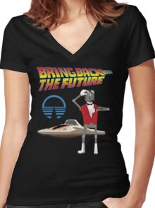 Bring Back the Future Horizons Robot Butler Women's Fitted V-Neck T-Shirt