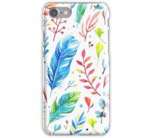 Buntes Boho Muster mit Federn und Blumen iPhone Case/Skin