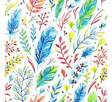 Buntes Boho Muster mit Federn und Blumen Photographic Print