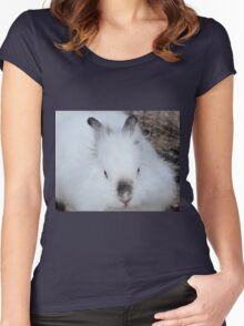 cute white rabbit Women's Fitted Scoop T-Shirt