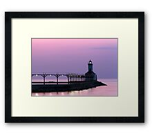 Michigan City (Indiana) Light at Twilight Framed Print
