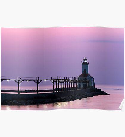 Michigan City (Indiana) Light at Twilight Poster