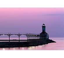 Michigan City (Indiana) Light at Twilight Photographic Print