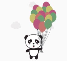 Panda with colorful balloons Kids Tee