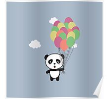 Panda with colorful balloons Poster