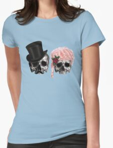 skull couple tall hat pink hair rose Womens Fitted T-Shirt