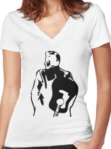 man the legend with guitar silhouette Women's Fitted V-Neck T-Shirt