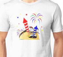 Happy Diwali Rockets In The Sky Colorful TShirt. Unisex T-Shirt