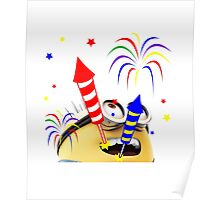Happy Diwali Rockets In The Sky Colorful TShirt. Poster