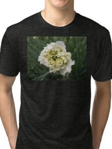 INTRICATE LAYERS OF A FRILLY WHITE CHRYSANTHEMUM FLOWER Tri-blend T-Shirt