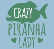 Crazy Piranha Lady (fish) Kids Tee
