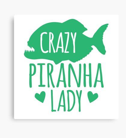 Crazy Piranha Lady (fish) Canvas Print