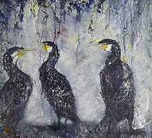 Three's a Crowd, Cormorants Scape by Sue Nichol