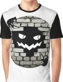 Brick Wall Scary Face Graphic T-Shirt