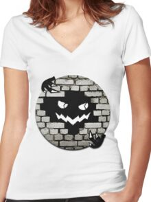 Brick Wall Scary Face Women's Fitted V-Neck T-Shirt
