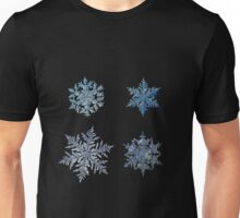 Four snowflakes on black background Unisex T-Shirt