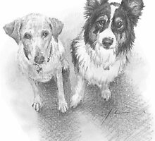 couple of dogs drawing by Mike Theuer