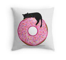 Black cat & Donut Throw Pillow