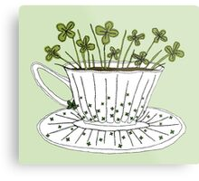 Lucky Cup of Clovers Metal Print