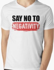 Say No to Negativity in White & Red Mens V-Neck T-Shirt