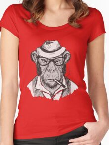 Hipster monkey with hat Women's Fitted Scoop T-Shirt