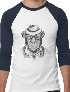 Hipster monkey with hat Men's Baseball ¾ T-Shirt
