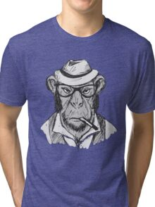 Hipster monkey with hat Tri-blend T-Shirt