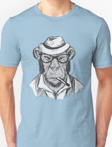 Hipster monkey with hat Unisex T-Shirt