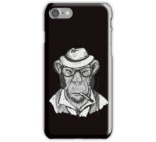 Hipster monkey with hat iPhone Case/Skin
