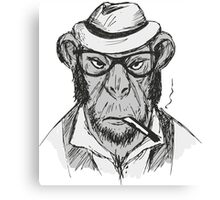 Hipster monkey with hat Canvas Print