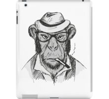 Hipster monkey with hat iPad Case/Skin