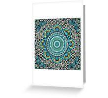 Paisley Mandala Blue Yellow Greeting Card