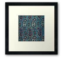 Navy Blue Paisley Framed Print