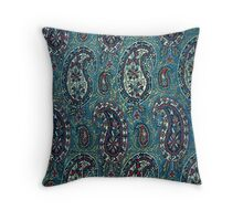Navy Blue Paisley Throw Pillow