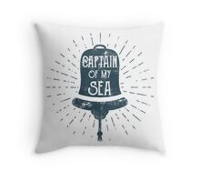 Retro Ship Bell Label Throw Pillow
