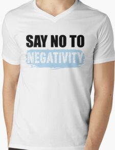 Say No to Negativity in White & Blue T-Shirt