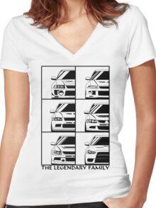 Mitsubishi Evolution. Legendary Family Women's Fitted V-Neck T-Shirt