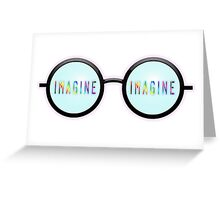 Imagine, Psychedelic, Round, Glasses, Greeting Card