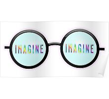 Imagine, Psychedelic, Round, Glasses, Poster