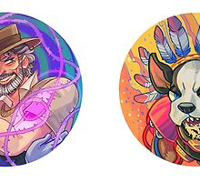 Stardust Crusaders Stickers: Joseph & Iggy by cocokat