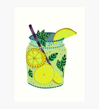 Lemonade in a jar illustration Art Print