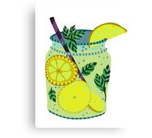 Lemonade in a jar illustration Canvas Print