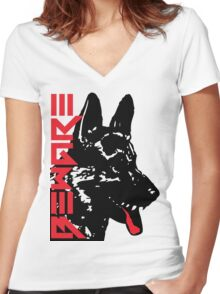 BEWARE DOG Women's Fitted V-Neck T-Shirt