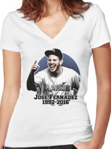 rest in peace jose fernandez Women's Fitted V-Neck T-Shirt