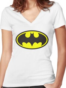 BATMAN Women's Fitted V-Neck T-Shirt