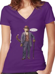 """One Cool Cat: """"Well . . . Hello, kitties!"""" Women's Fitted V-Neck T-Shirt"""